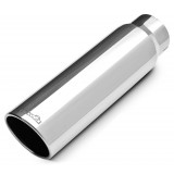"304 Polished Stainless Steel Tip - Single Wall - Inlet Dia.: 4"" - Outlet Dia.: 5"" - Overall Length: 18"""