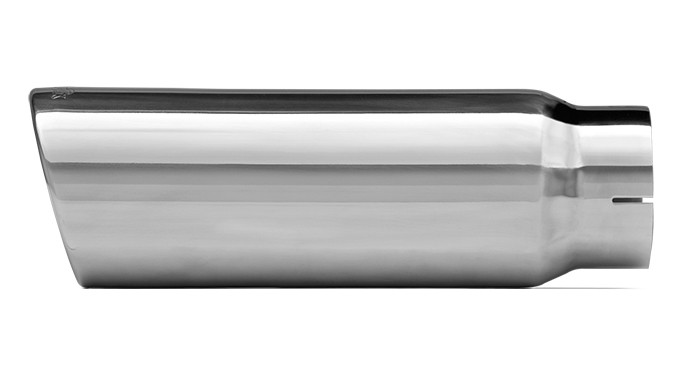 """304 Polished Stainless Steel Tip - Single Wall - Inlet Dia.: 4"""" - Outlet Dia.: 5"""" - Overall Length: 12"""""""