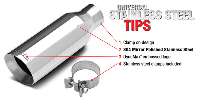 Dynomax® Performance Exhaust: Universal Stainless Steel Tips